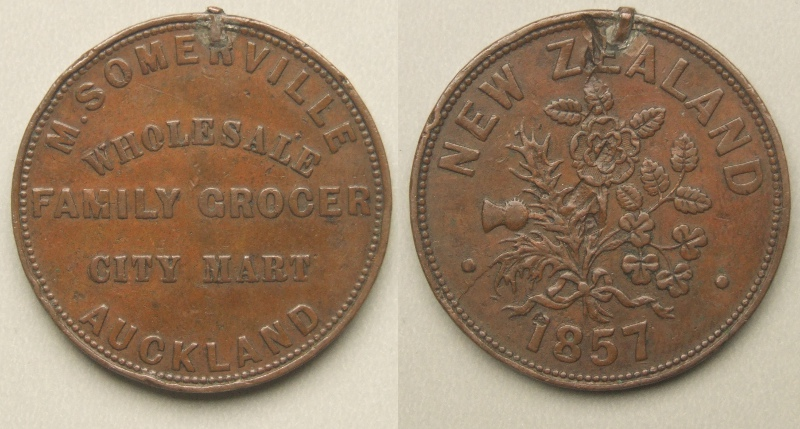 New Zealand, Auckland 1857 family grocer penny token